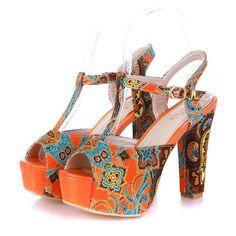 "Charm Foot Fashion Floral Print Womens Platform High Heel Peep Toe Sandals (9, Orange). Floral Fabric. Manmade Material. Heel Height:5"". Shoes Wide:Medium."