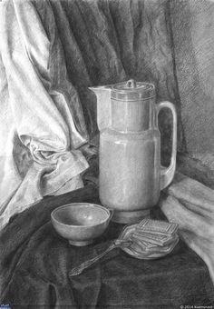 Традиционные материалы — Компьютерная графика и анимация — Render.ru Still Life Sketch, Still Life Drawing, Painting Still Life, Still Life Art, Rendering Drawing, Basic Drawing, Drawing Skills, Pencil Drawings, Art Drawings