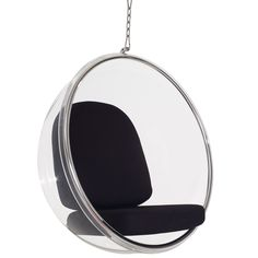 LexMod Eero Aarnio Style Bubble Chair With Black Pillows Modern Chairs, Modern Furniture, Outdoor Furniture, Bubble Chair, Acrylic Chair, Steel Rims, Black Pillows, Swinging Chair, Black Rings