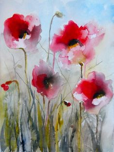 "Field Poppies II - Saatchi Online Artist Karin Johannesson; Painting, ""Field Poppies II"" #art - Sold"