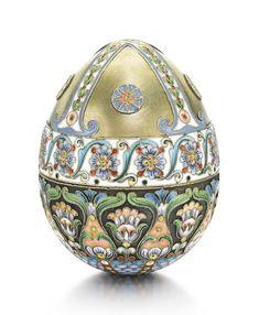 A silver-gilt and cloisonné enamel egg-form box, Nemirov-Kolodkin, Moscow, 1908-1917