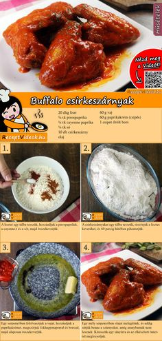 Buffalo csirkeszárnyak Buffalo chicken wings recipe with video Hungarian Recipes, Chicken Wing Recipes, No Cook Meals, Street Food, Food Hacks, Food Videos, Buffalo Wings, Buffalo Chicken, Kitchens