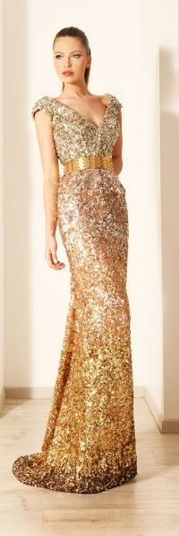 Rami Kadi gold dress. #Dresses #Bridesmaid #www.celebritystyleweddings.com @Celebstylewed