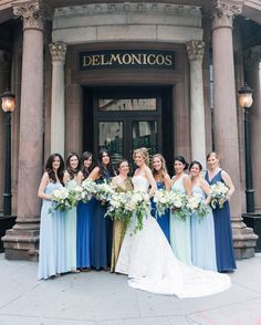 There are many ways to incorporate the ever-popular mismatched bridesmaids look, and not all of them involve each of your girls wearing a different dress! You can still stay true to your color scheme by providing a color swatch to your bridesmaids and letting them pick a style or silhouette of their choice. If you want to have some sort of uniformity but like the idea of a mix-and-match look, have your 'maids wear different shades of the same color. For example, you could have them all wear…