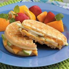 Apple waffle sandwich - think also Cheddar cheese and Granny Smith apples, also - might be a nice autumn addition to our menu
