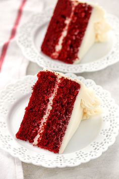 Two slices of red velvet cake topped with cream cheese frosting on decorative white plates and a white napkin on the side Homemade Red Velvet Cake, Easy Red Velvet Cake, Red Velvet Desserts, Easy Cake Recipes, Best Dessert Recipes, Baking Recipes, Homemade Buttermilk, Cake Toppings, Cupcake Cakes