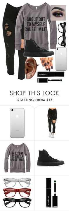 """""""Shout out to myself cause I'm lit"""" by malrocks2003 ❤ liked on Polyvore featuring Converse, BHCosmetics and Givenchy"""
