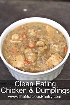Clean Eating Chicken And Dumplings.  This dish was fantastic, not to mention healthy for you too!!. I cut the dumplings in half, but I don't like them as mch. Also, your pot will just about overflow, but don't worry, just keep adding and it will simmer down to a nice creamy/broths texture!