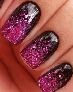 Black and pink glitter gel nails