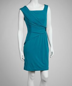 Take a look at this Teal Square-Neck Sleeveless Dress by Sandra Darren on #zulily today!