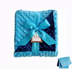 Turquoise and Navy Blue Minky Baby Blanket-Get it personalized!