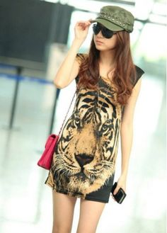 Incredible Tiger Print Tank Pattern Above Knee Dress with cheap wholesale price, buy Incredible Tiger Print Tank Pattern Above Knee Dress at wholesaleitonline.com !