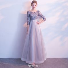 <img> Chic / Beautiful Grey Prom Dresses 2017 A-Line / Princess Scoop Neck Sleeve Appliques Flower Bow Sash Floor-Length / Long Backless Formal Dresses - Formal Dresses For Women, Dressy Dresses, Formal Gowns, Nice Dresses, Dress Formal, Beautiful Dresses, Grey Prom Dress, Lace Dress, Dress Long