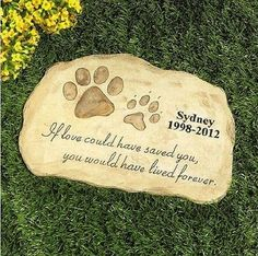 Pet Dog Cat Memorial Personalized Engraved Garden Stone Memory Marker Keepsake