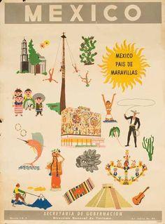 ca 1950s Mexico Travel Poster Pais de Maravillas