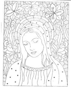 Gallery.ru / Фото #93 - disegni ricamo - antonellag Polish Embroidery, Iron On Embroidery, Embroidery Patterns Free, Cross Stitch Embroidery, Catholic Art, Religious Art, Coloring Books, Coloring Pages, Seed Bead Art