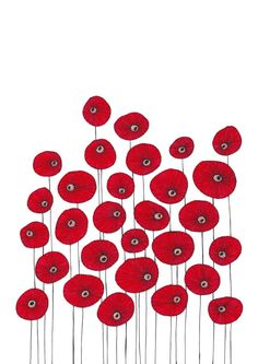 Original Drawing  Poppy Flowers 3  8.5x12 up by EnchantedCrayons, $15.00