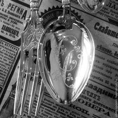 """Купить Серебряный набор """"Эгоист"""" из 3-х предметов с гравировкой инициалов - серебряная ложка"""