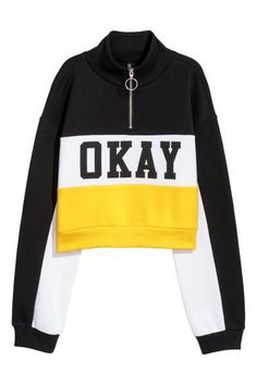 Short sweatshirt - yellow/block coloured - ladies h&m Tween Fashion, Teen Fashion Outfits, Girl Outfits, Cute Summer Outfits, Pretty Outfits, Cute Outfits, Court Outfit, Vetement Fashion, Tumblr Outfits