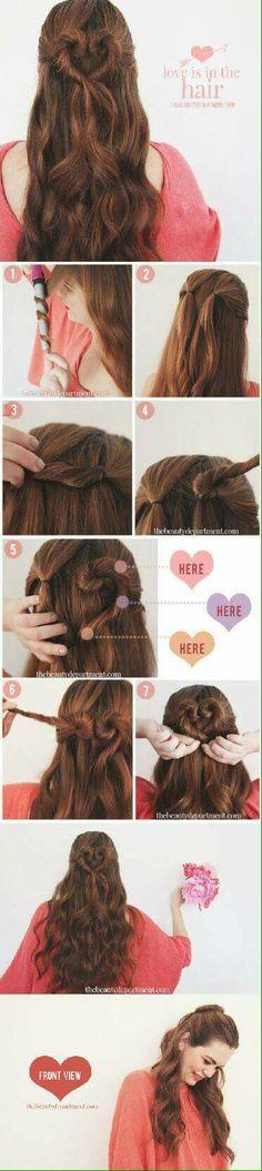 hair tutorial Flechten von Frisuren un - haar Pretty Hairstyles, Girl Hairstyles, Braided Hairstyles, Romantic Hairstyles, Wedding Hairstyles, Style Hairstyle, Hairstyles 2018, Heart Braid, Corte Y Color