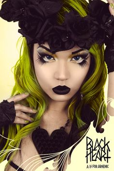 Amelia Arsenic wearing Sugarpill for A is for Arsenic's Black Heart campaign