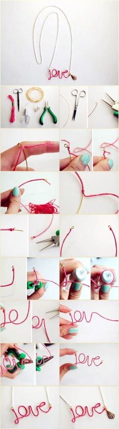 embroidery thread covered wire message jewelry tutorial