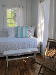 White tab top drapes. Yes!