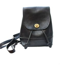 Black Leather Coach Mini Backpack Bag
