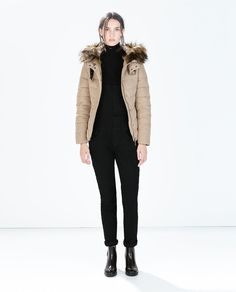 QUILTED ANORAK WITH FUR HOOD-Quilted Coats-Outerwear-WOMAN | ZARA United States