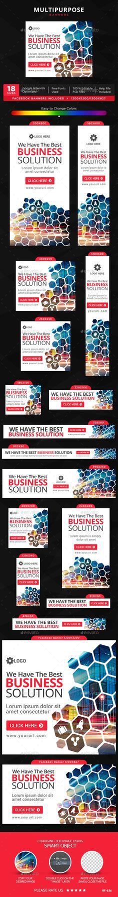 Multipurpose Banners Template #design #ads Buy Now: http://graphicriver.net/item/multipurpose-banners/12878008?ref=ksioks