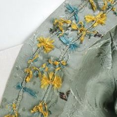 Robe à l'Anglaise close up of front robing - Date: 1770–75 Culture: British Medium: silk, metal - MMA 2009.300.648