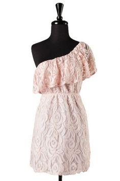Esmerelda One Shoulder Lace Dress - Light Pink