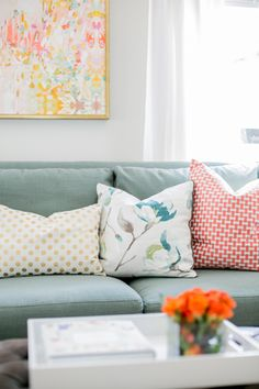 Wichita Falls fresh Coral, Mint, with gold pops living room designed by Jana Bek Design. Follow us on Facebook at Jana Bek Design, on instagram @Jana Bek Design, & at www.janabek.com  Caitlin Wilson Textiles, Michelle Armas, lacquer tray