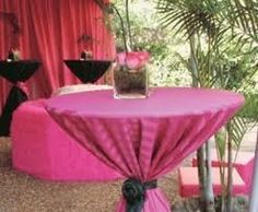 cocktail table with tied table cloth