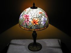 Floral Table Lamp  Reverse Painted Shade by SandECollectibles, $349.95