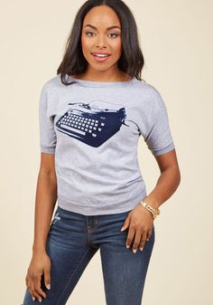 #AdoreWe #ModCloth Top - ModCloth Write Your Bestseller T-Shirt - AdoreWe.com