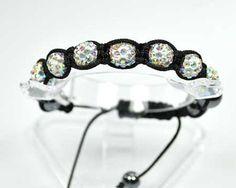 Bracelet shamballa-shambala-7 perles boules strass aurore boréale-hématite-diams