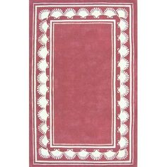 American Home Rug Co. Beach Rug Dusty Rose Shell Border Novelty Rug Rug Size: Round 6'