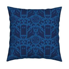 Catalan Throw Pillow featuring Police Box Damask Dark Blue on White - small by designedbygeeks