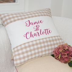 Gingham Couple's Cushion Natural Wedding Anniversary Gifts, Newlyweds, Gingham, Personalized Gifts, Bed Pillows, Pillow Cases, Cushion, New Homes, Bridesmaid