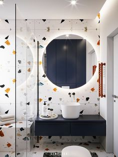 I'm sure you've seen this finish ever in your life. Yes, granilite (aka Terrazo) it was a coating widely used in other decades and he came back with it all! Best Bathroom Designs, Bathroom Design Small, Bathroom Layout, Bathroom Interior Design, Bathroom Ideas, Design Kitchen, Kitchen Interior, Bad Inspiration, Bathroom Inspiration