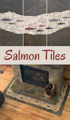 "6"" and 4"" salmon tiles cut from natural slate. Install these fish on floors, walls, fireplaces, backsplashes, and beyond! Backsplash Tile, Mosaic Tiles, Tile Fireplace, Small Tiles, Tile Ideas, Fireplaces, Slate, Floors, Tile Floor"