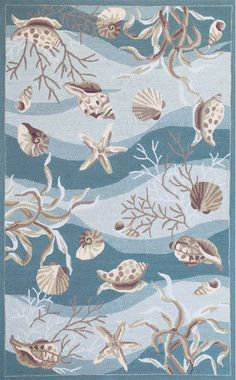 Soft waves of blue-aqua splashed with shell and coral images create a lovely pattern in this beach cottage styled Seafoam Waves of Shells Hand-Hooked Area Rug. Add hints of the beach with this rug covered in shells and sea life images!
