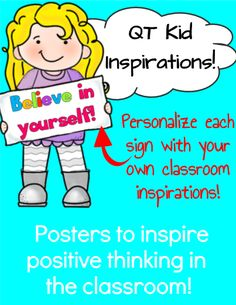 These little cuties are here to inspire your learners with positive thinking! You can print these inspirations out and use them as posters. OR - what I like to do is laminate them and then cut out each QT Kid on the outline. Then, I post these QT's all around the room in unexpected places where students will discover a little bit of inspiration hiding around every corner! * * Add your own text box to personalize each one!