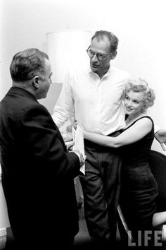 """""""Marilyn Monroe and Arthur Miller in their New York apartment with Kermit Bloomgarden, Photo by Robert Kelley. Marylin Monroe, Marilyn Monroe Photos, Old Hollywood Stars, Vintage Hollywood, Classic Hollywood, Brigitte Bardot, Greta, Imperfection Is Beauty, Joe Dimaggio"""