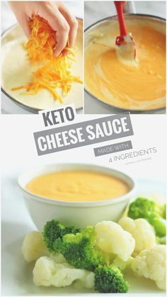 """This 4 Ingredient Easy Keto Cheese Sauce is so Cheesy! It's a really Easy Low Carb Cheese Sauce that's Perfect with Steamed Vegetables, Keto Nachos or a Delicious Keto Cauliflower """"Mac"""" and Cheese. Ketogenic Recipes, Low Carb Recipes, Beef Recipes, Healthy Recipes, Healthy Foods, Salad Recipes, Vegetarian Recipes, Zoodle Recipes, Cheap Recipes"""