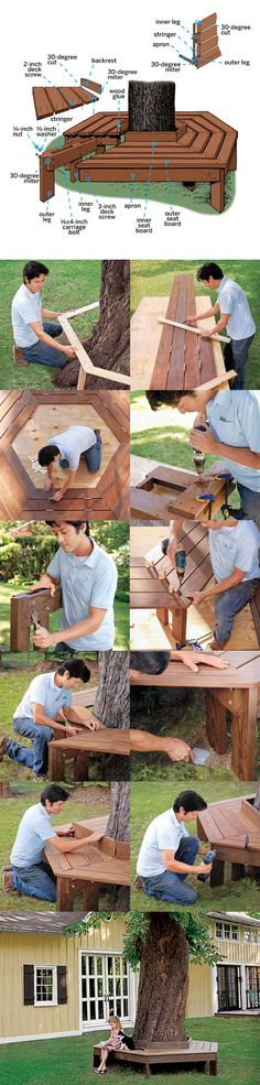 ❧ How to Build a Tree Bench They had these on Gyeongpo beach! I want one at my future residence.:
