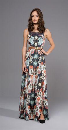 Vestido Longo Flor de Abacaxi