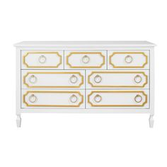 Beverly 7 Dresser In White/gold