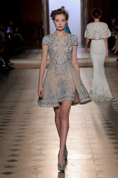 Tony Ward S/S 2017: I love the pop of blue with the beading! The silhouette is adorable!